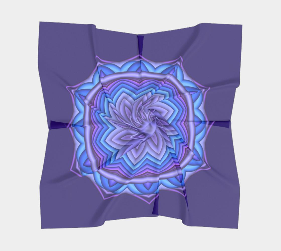 Blue & Purple Geometric Flower Medallion Square Scarf preview #5
