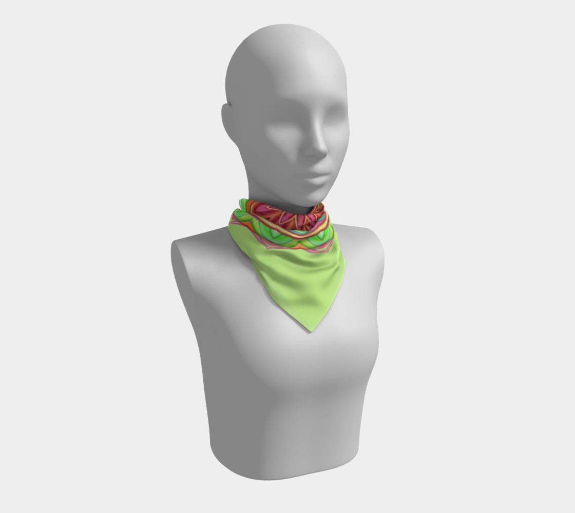 Pastel Green & Pink Geometric Flower Medallion Big Scarf preview #1