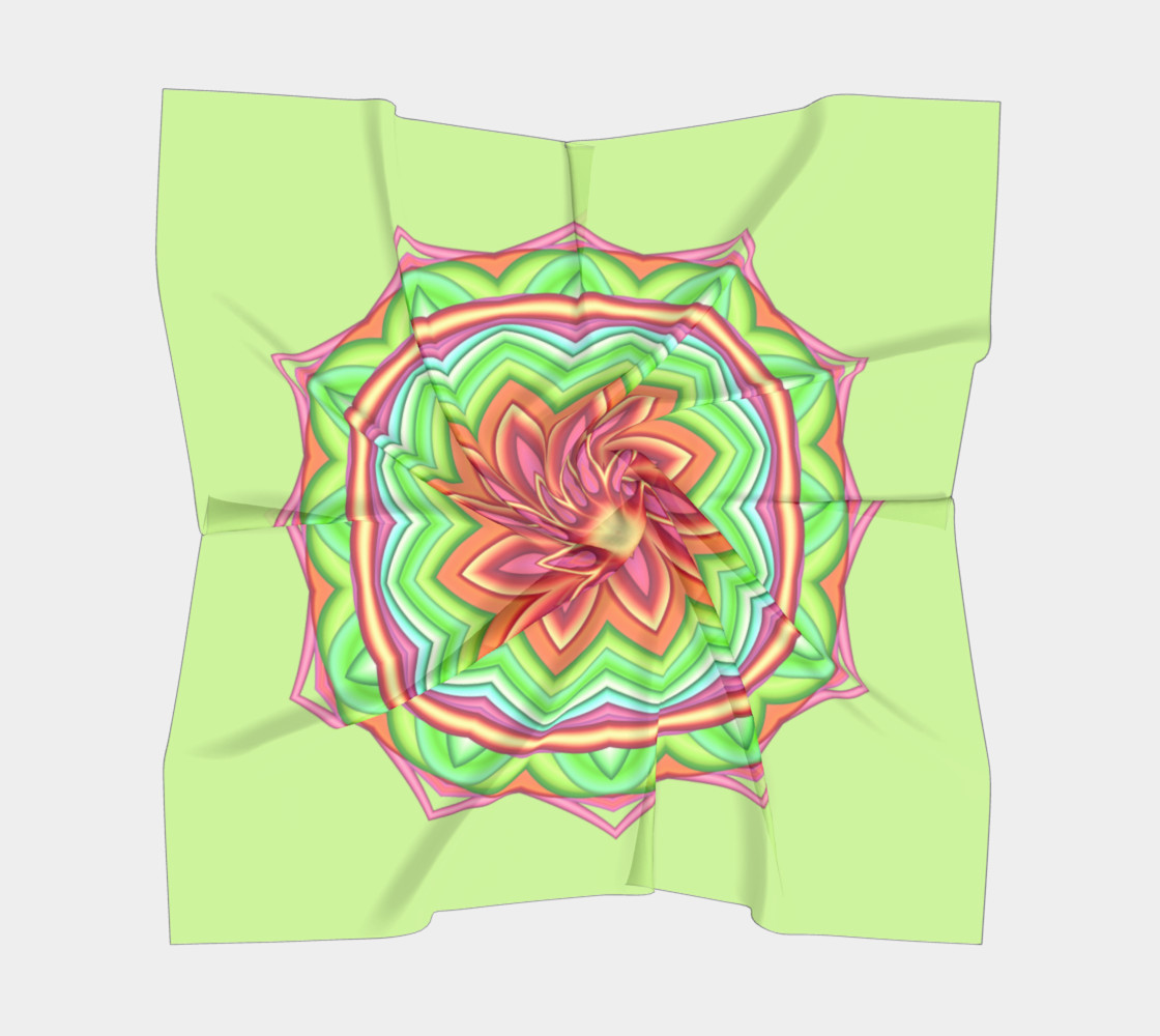 Pastel Green & Pink Geometric Flower Medallion Big Scarf preview #5