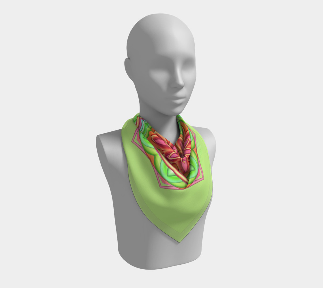 Pastel Green & Pink Geometric Flower Medallion Square Scarf preview #2