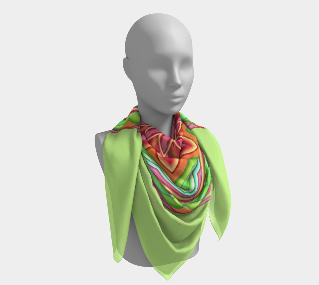 Pastel Green & Pink Geometric Flower Medallion Square Scarf preview #4