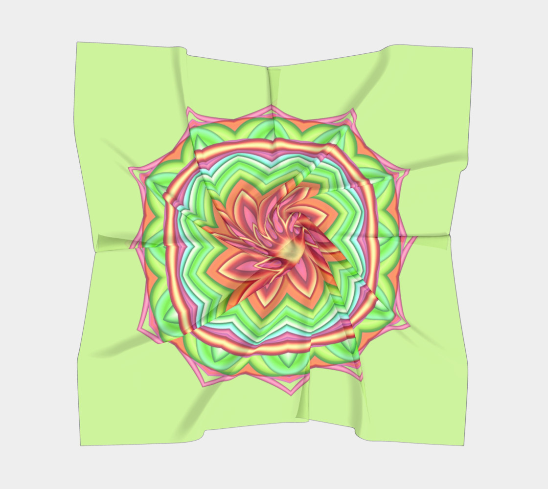 Pastel Green & Pink Geometric Flower Medallion Square Scarf preview #5