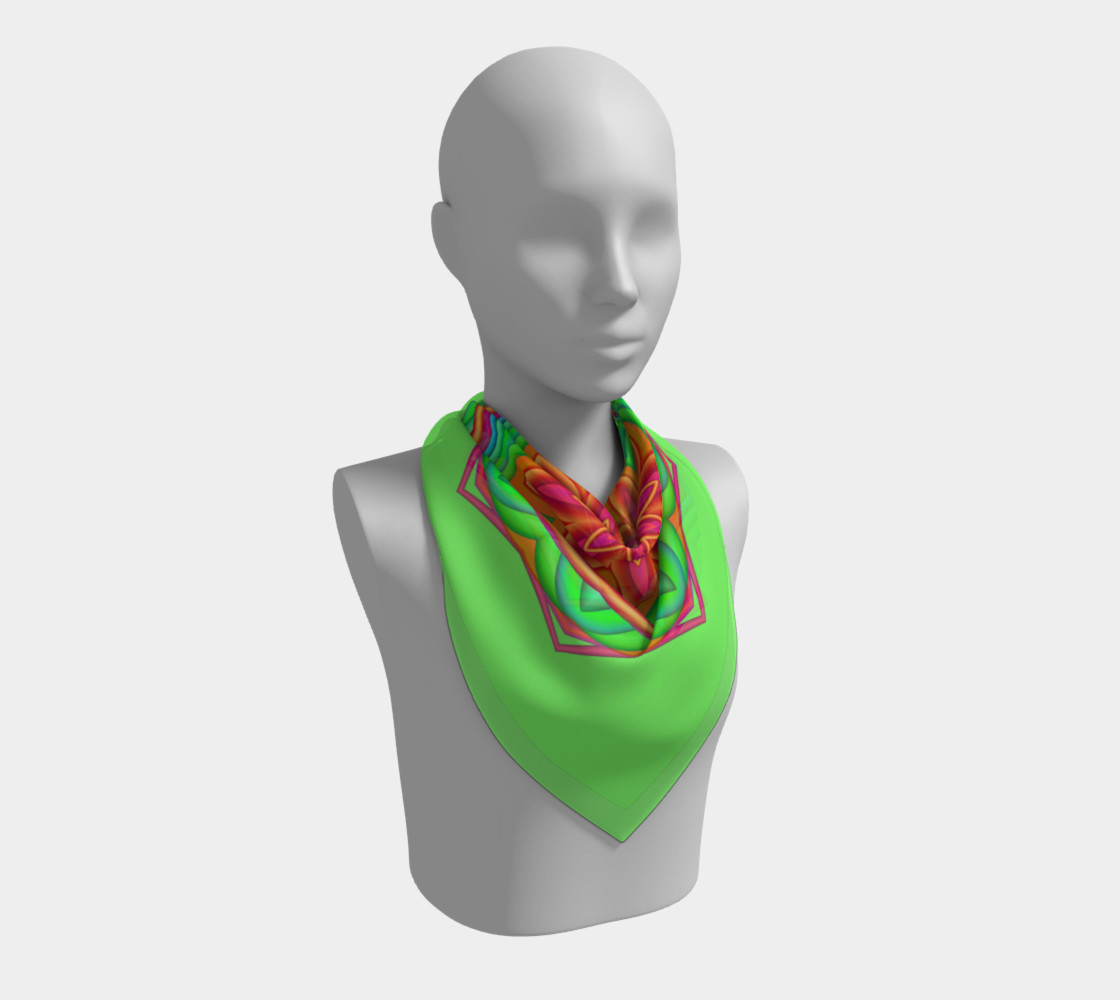 Green & Pink Geometric Flower Medallion Big Scarf preview #2