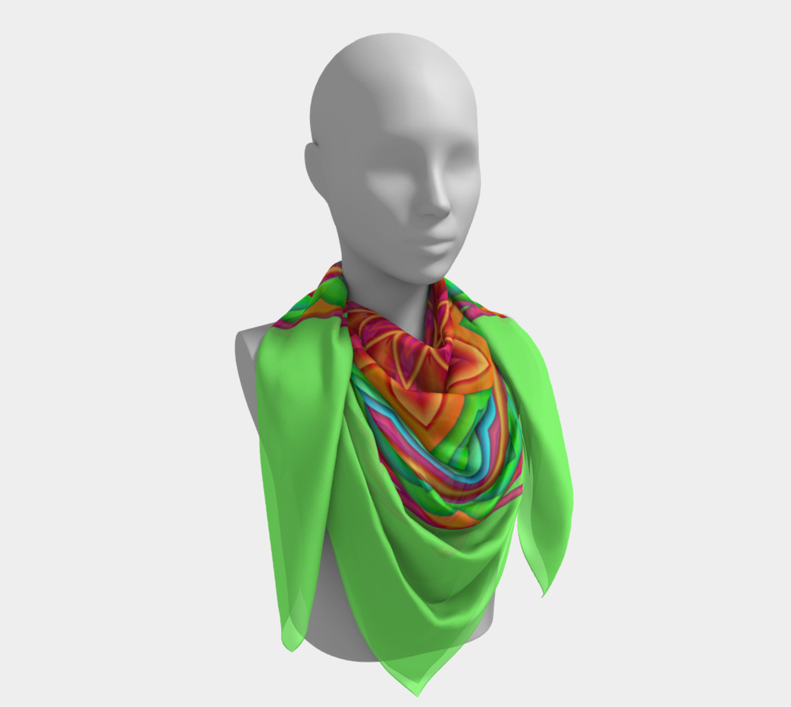 Green & Pink Geometric Flower Medallion Big Scarf preview #4