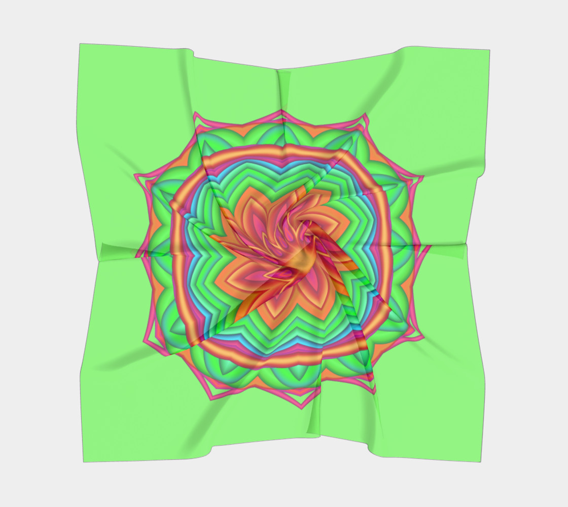 Green & Pink Geometric Flower Medallion Big Scarf preview #5