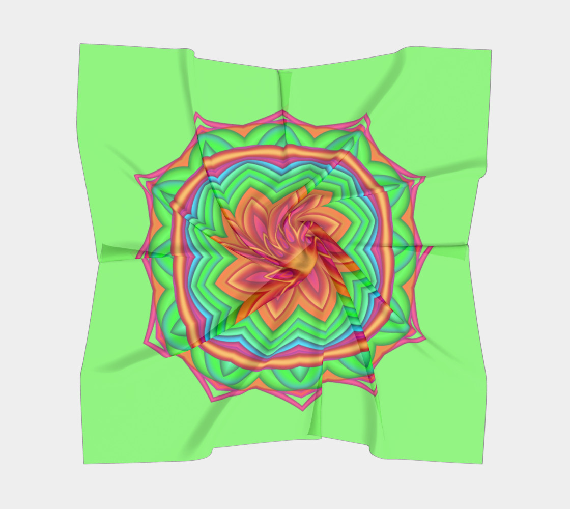 Aperçu de Green & Pink Geometric Flower Medallion Square  Scarf #5