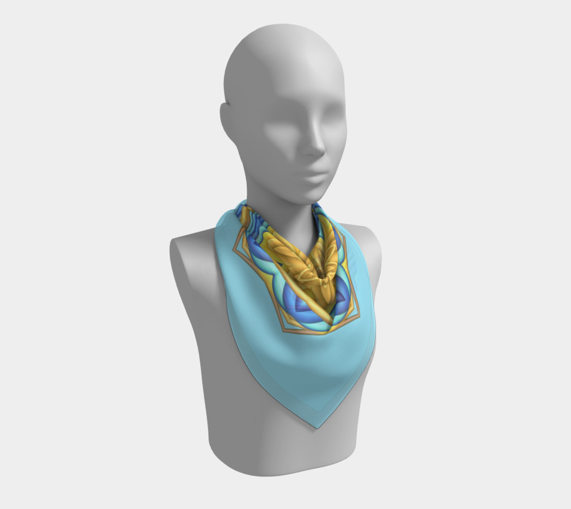 Yellow & Blue Geometric Flower Medallion Square  Scarf preview #2