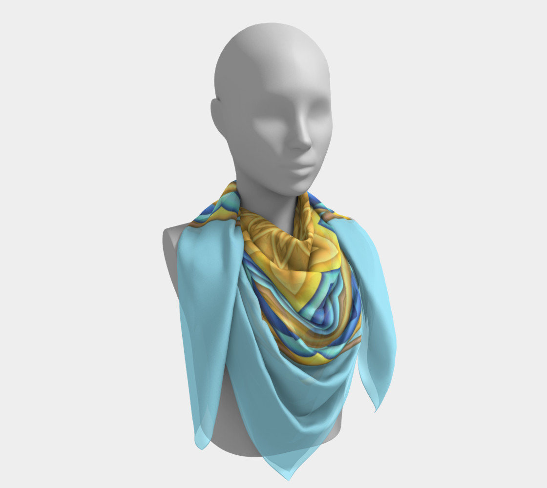 Yellow & Blue Geometric Flower Medallion Square  Scarf preview #4