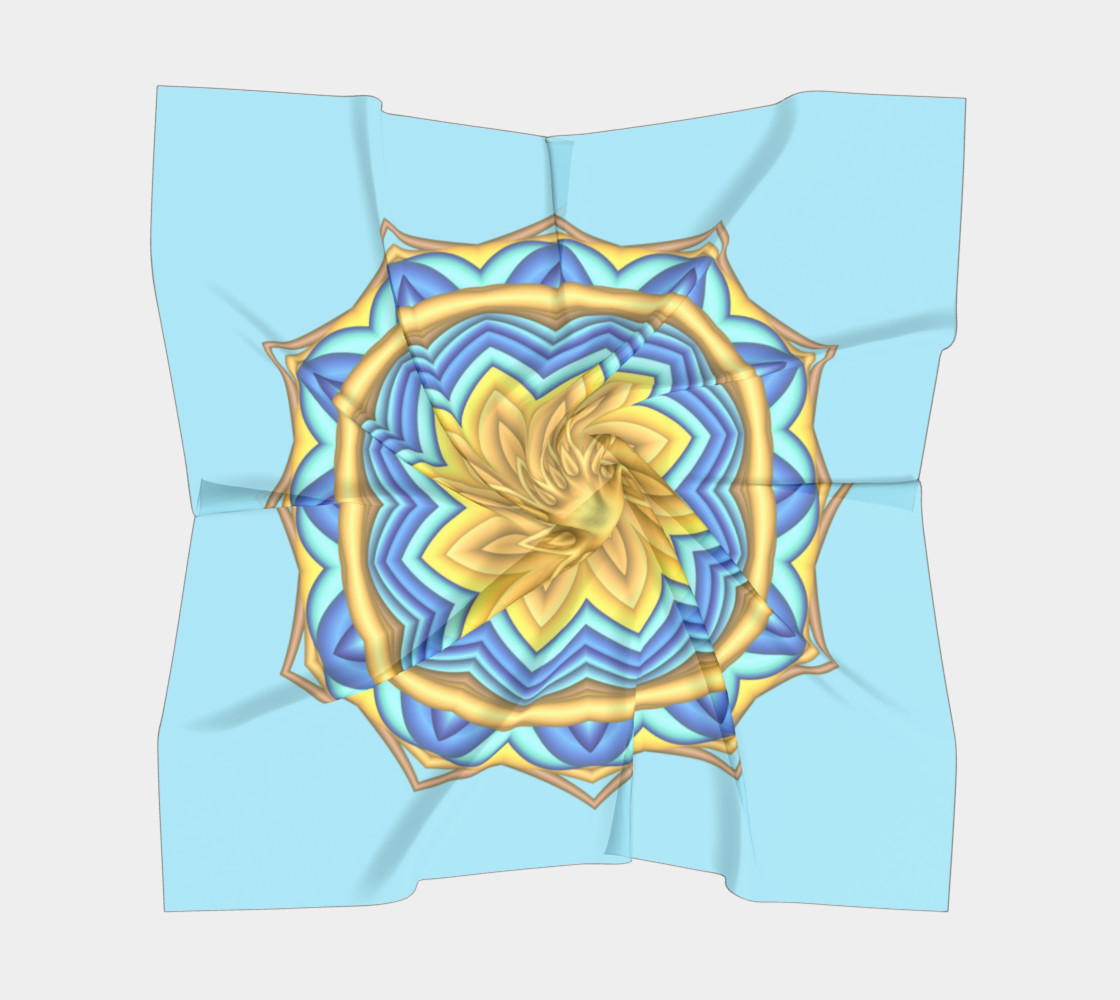 Yellow & Blue Geometric Flower Medallion Square  Scarf preview #5
