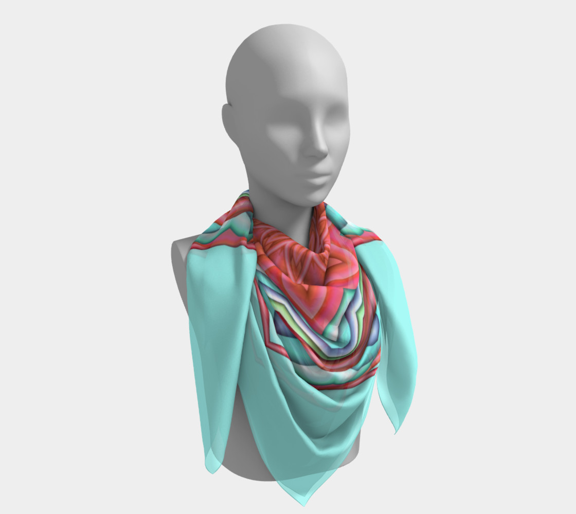 Colorful Geometric Flower Medallion Square Scarf preview #4
