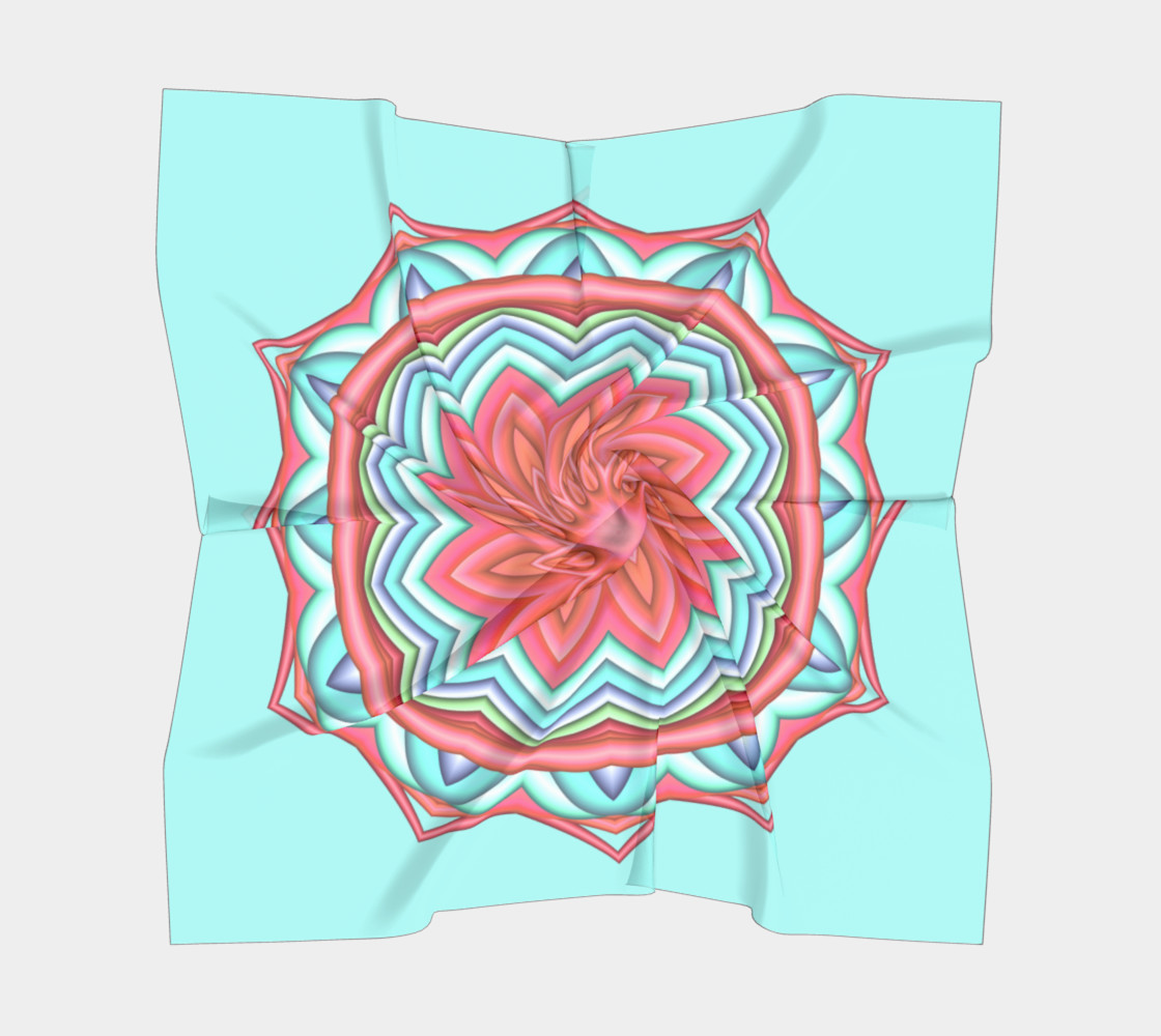 Colorful Geometric Flower Medallion Square Scarf preview #5