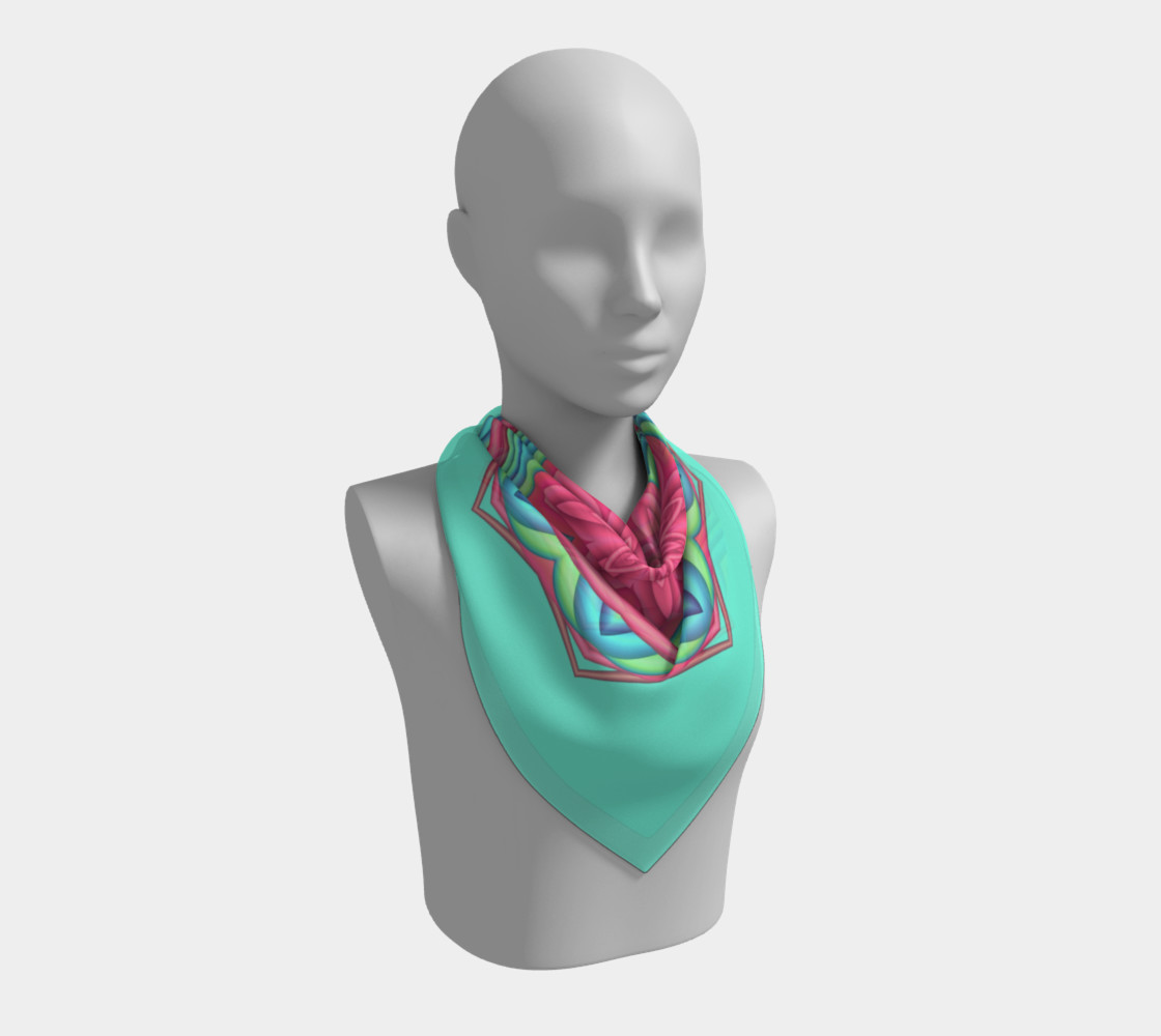 Pink & Turquoise Geometric Flower Medallion Big Scarf preview #2