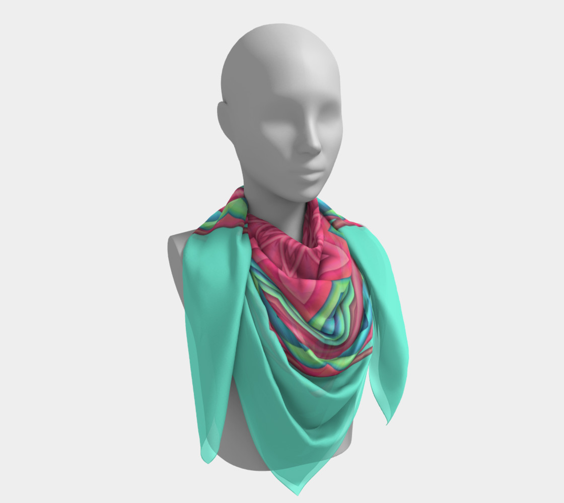Pink & Turquoise Geometric Flower Medallion Big Scarf preview #4