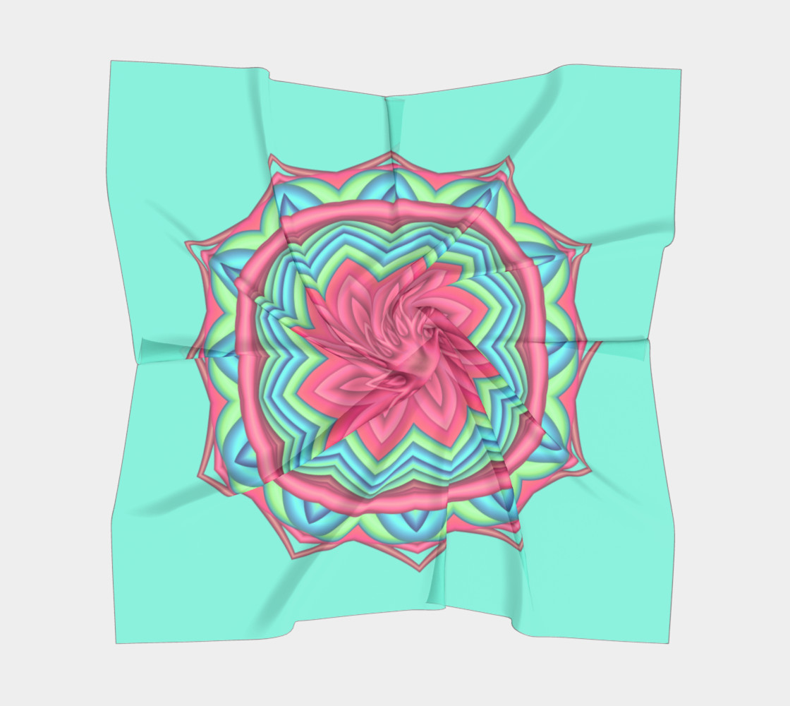 Pink & Turquoise Geometric Flower Medallion Big Scarf preview #5