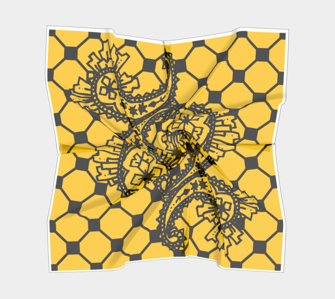 Aperçu de Yellow Grid Paisley Pattern Minton Black Yellow Tile Pattern Paisley Henna Art #5