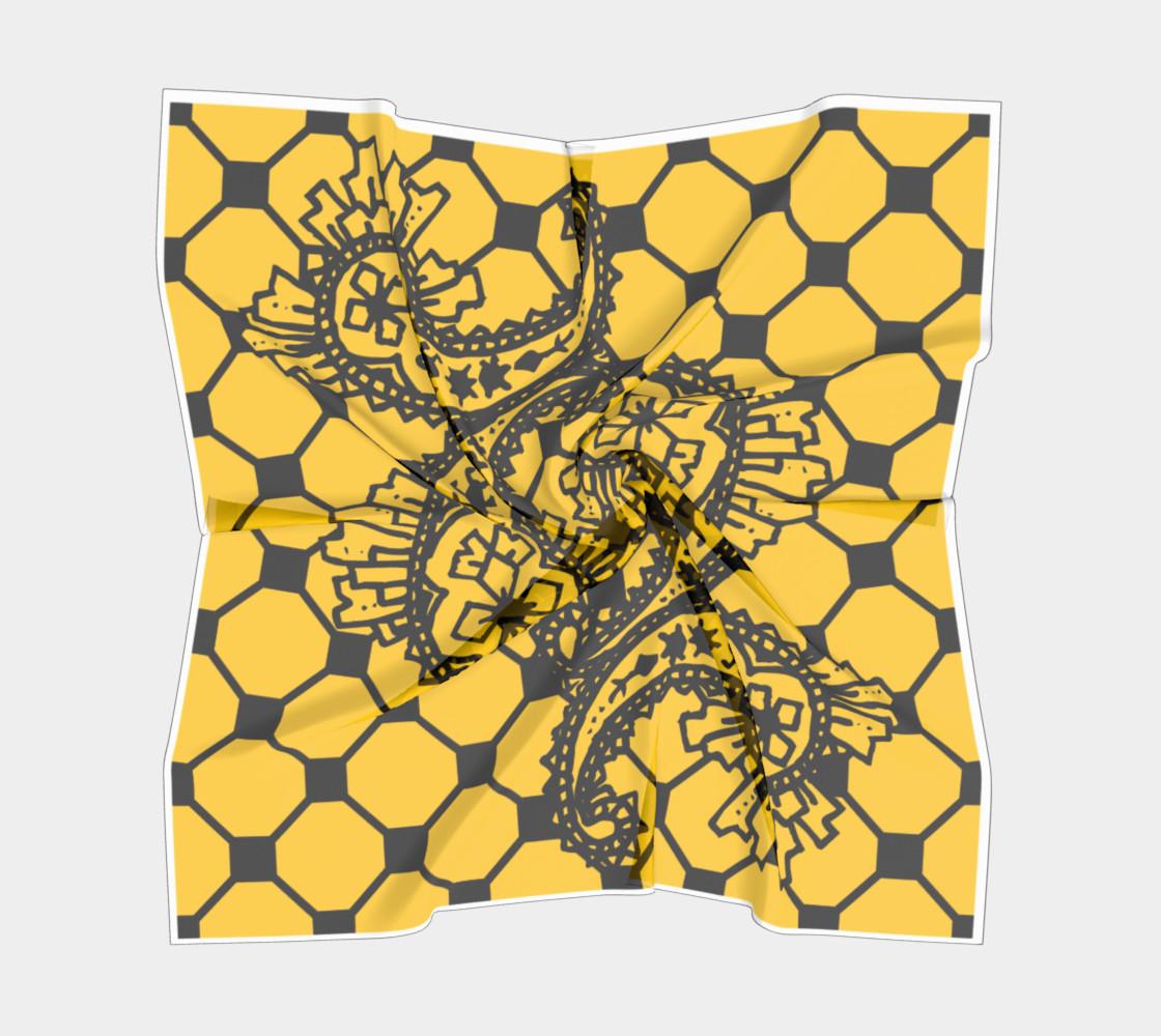 Yellow Grid Paisley Pattern Minton Black Yellow Tile Pattern Paisley Henna Art preview #5