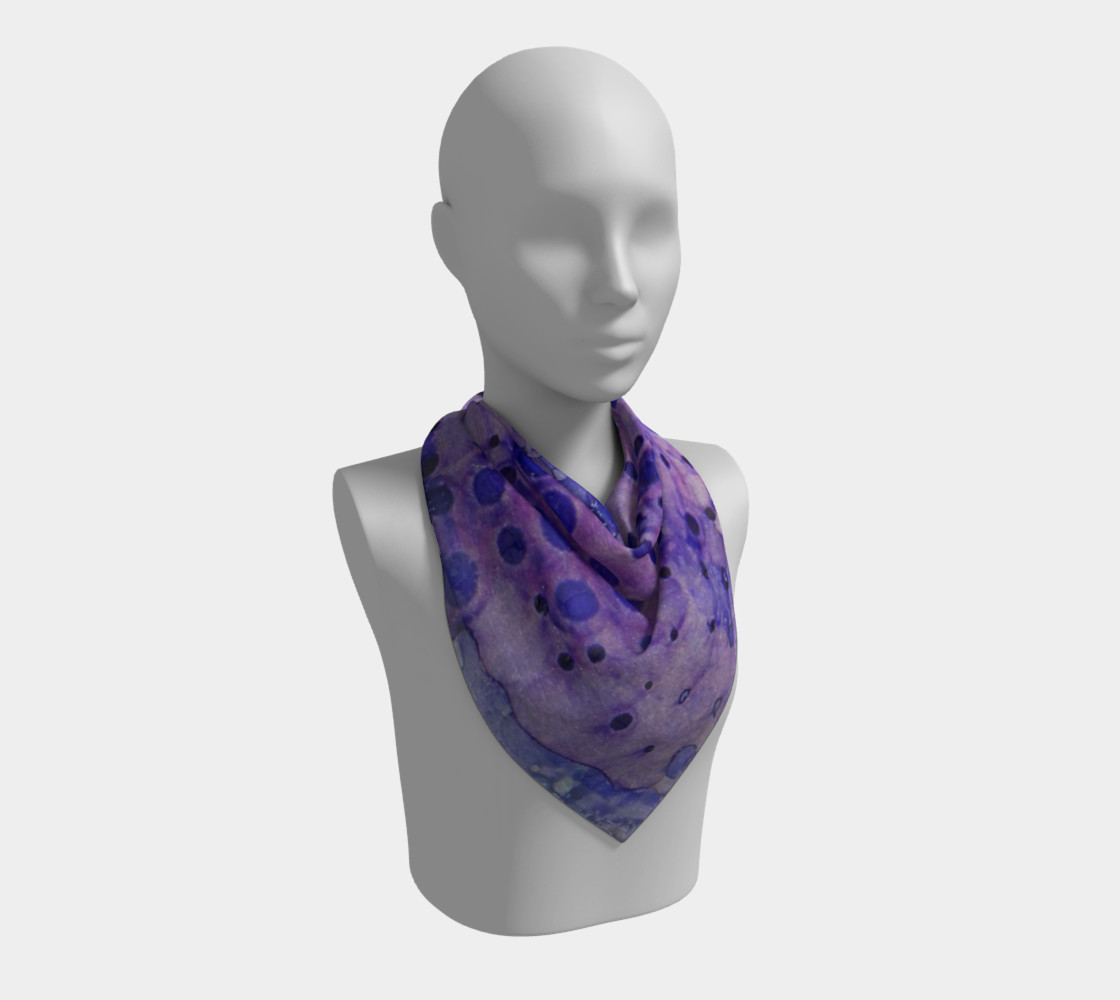 Purple Grid Ink #2 Square Scarf preview #2