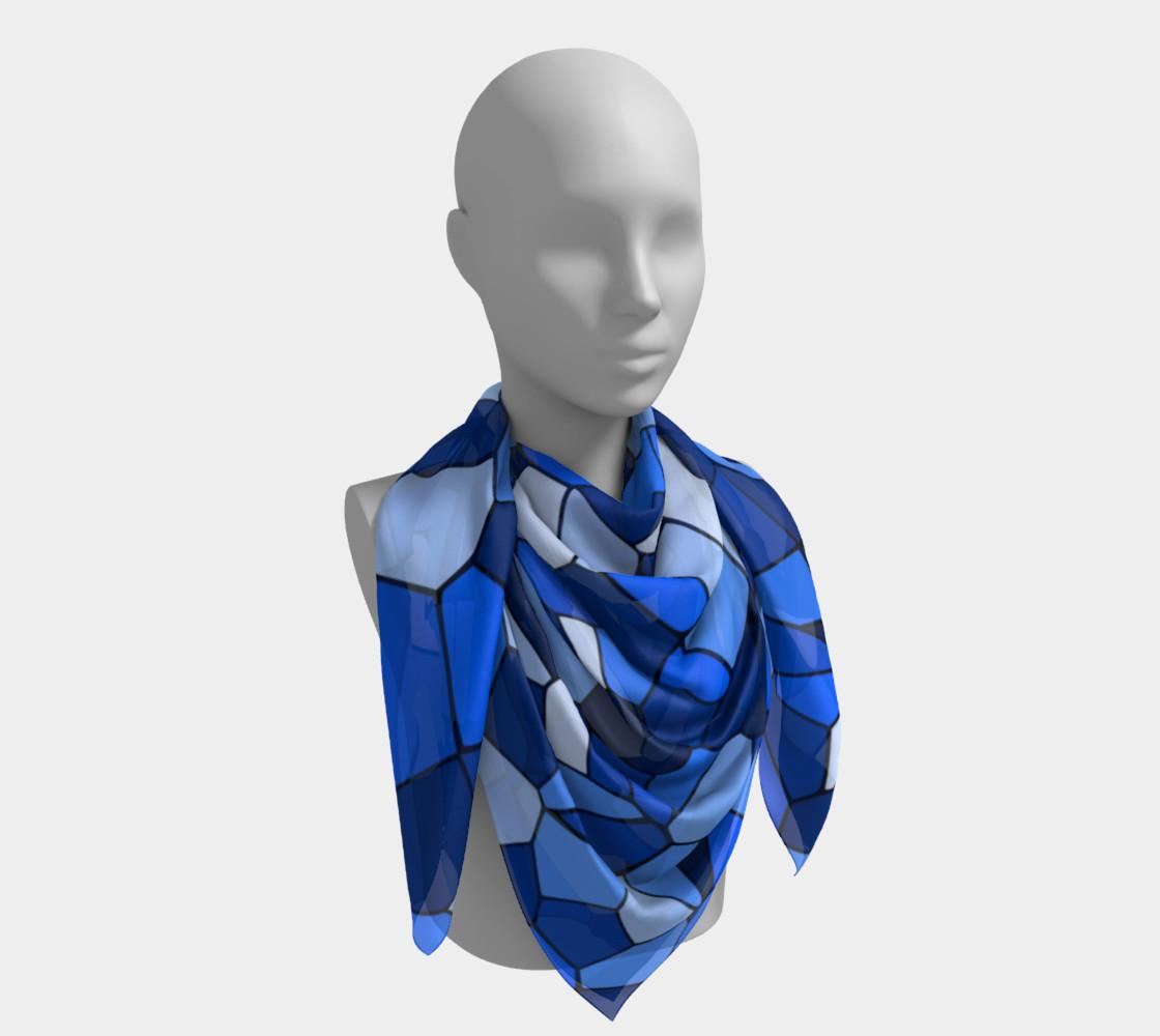 Blue Monochrome Geometric Mosaic Pattern preview #4