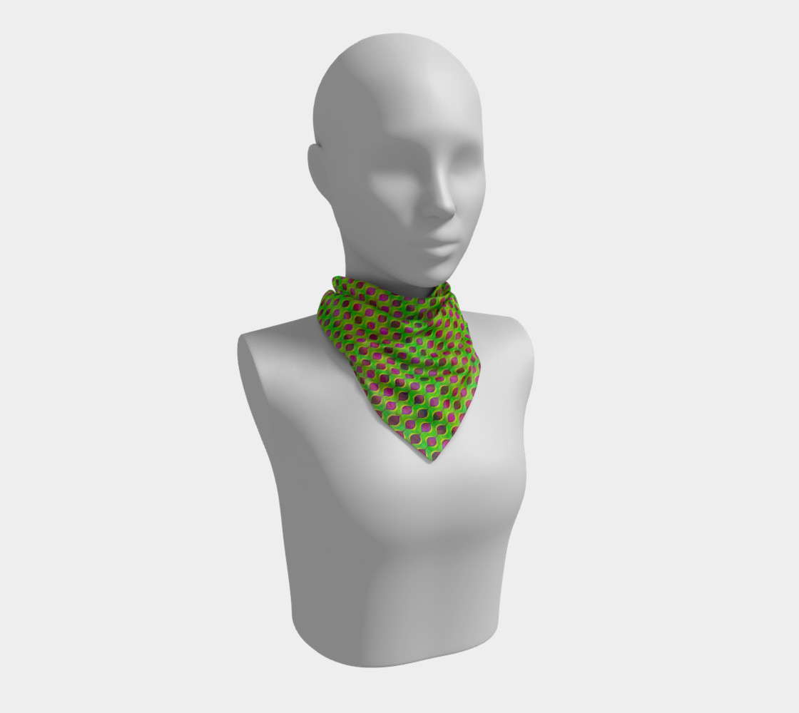 Aperçu de Fun Bright Green Purple Ogee Pattern Square Scarf #1