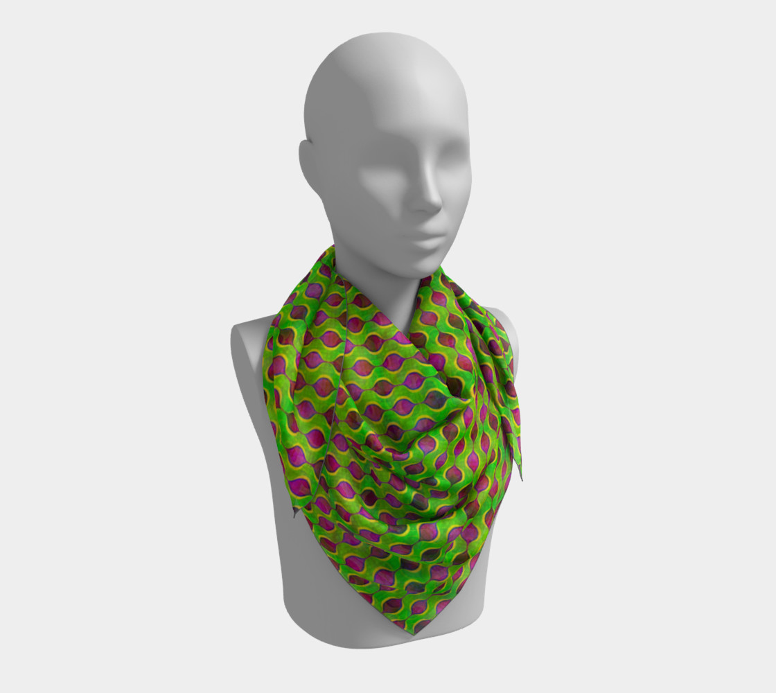 Aperçu de Fun Bright Green Purple Ogee Pattern Square Scarf #3