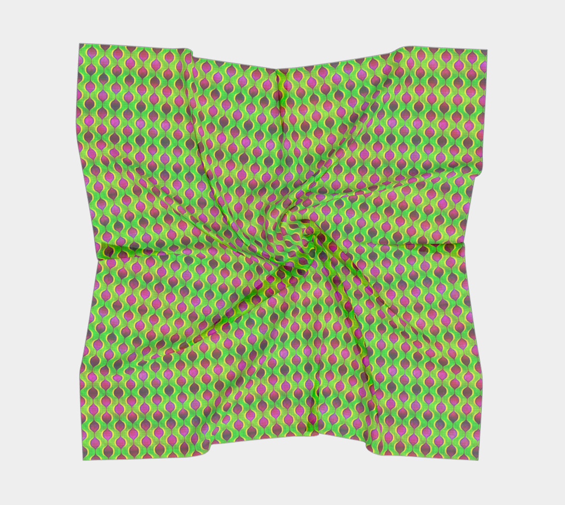 Aperçu de Fun Bright Green Purple Ogee Pattern Square Scarf #5