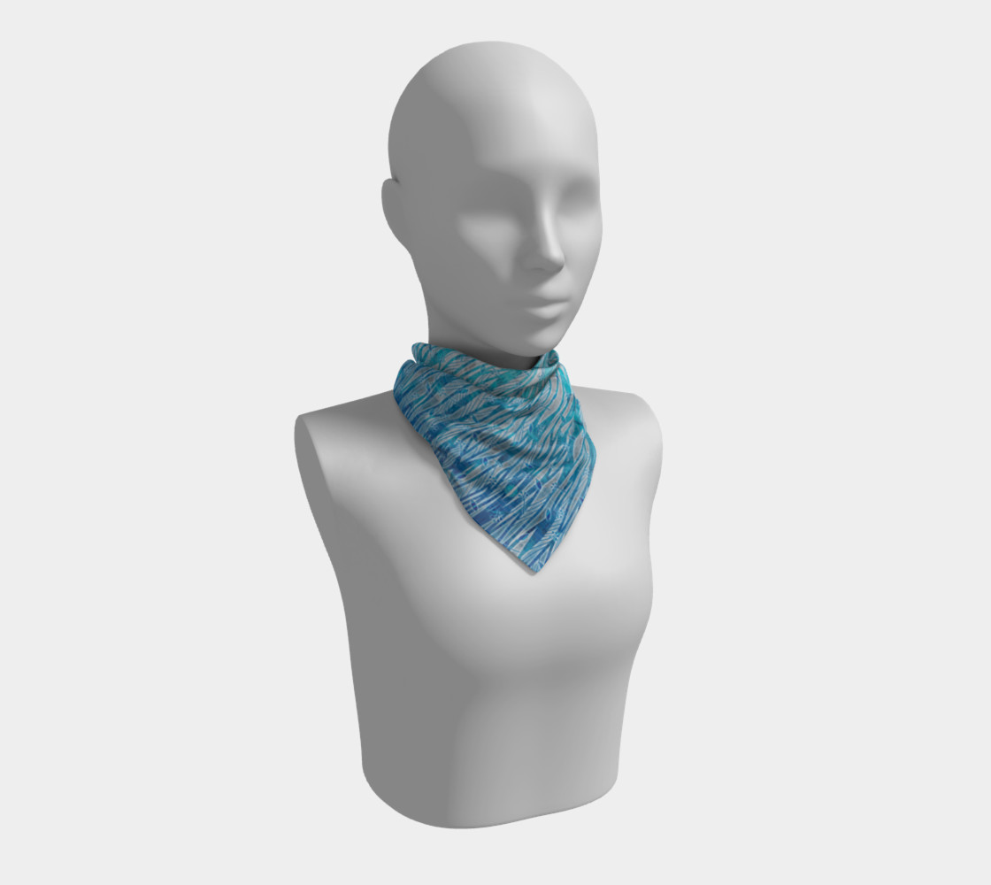 Blue Turquoise Silver Leafy Floral Square Scarf Miniature #2