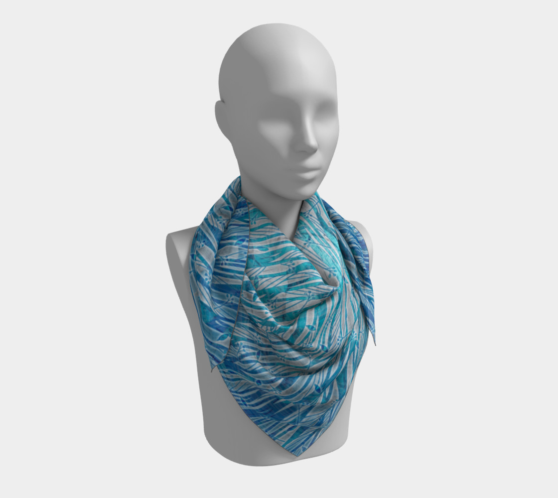 Blue Turquoise Silver Leafy Floral Square Scarf Miniature #4