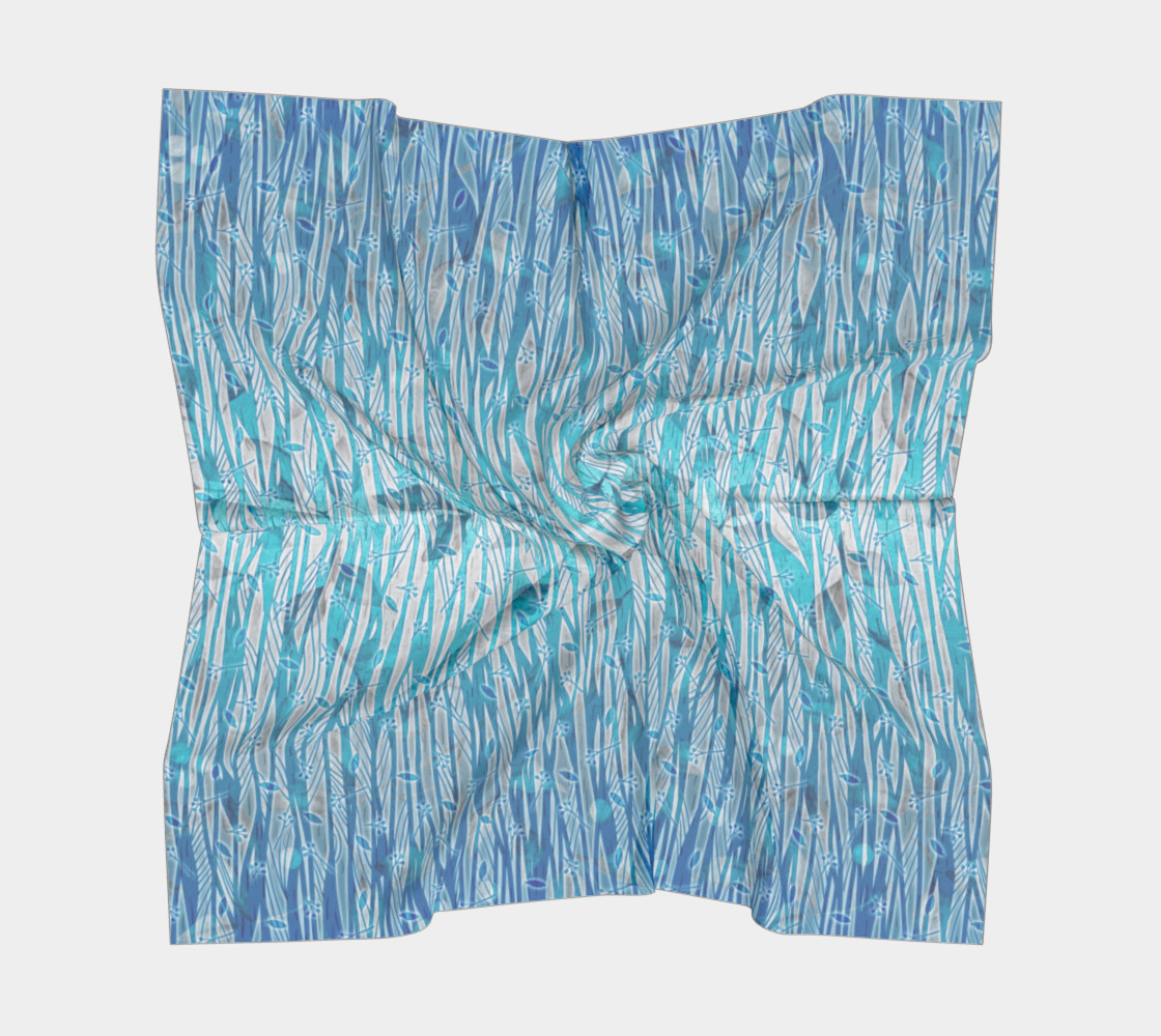 Blue Turquoise Silver Leafy Floral Square Scarf Miniature #6