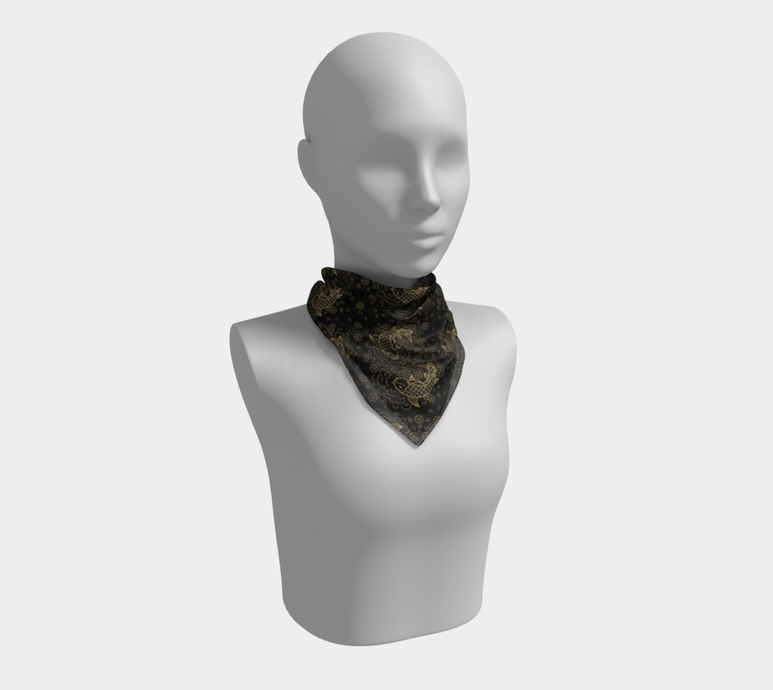 Gold Koi and Flowers on Black Background Square Scarf preview #1