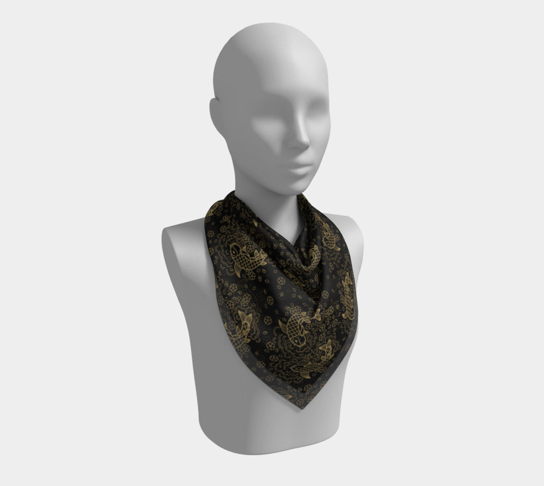 Gold Koi and Flowers on Black Background Square Scarf preview #2