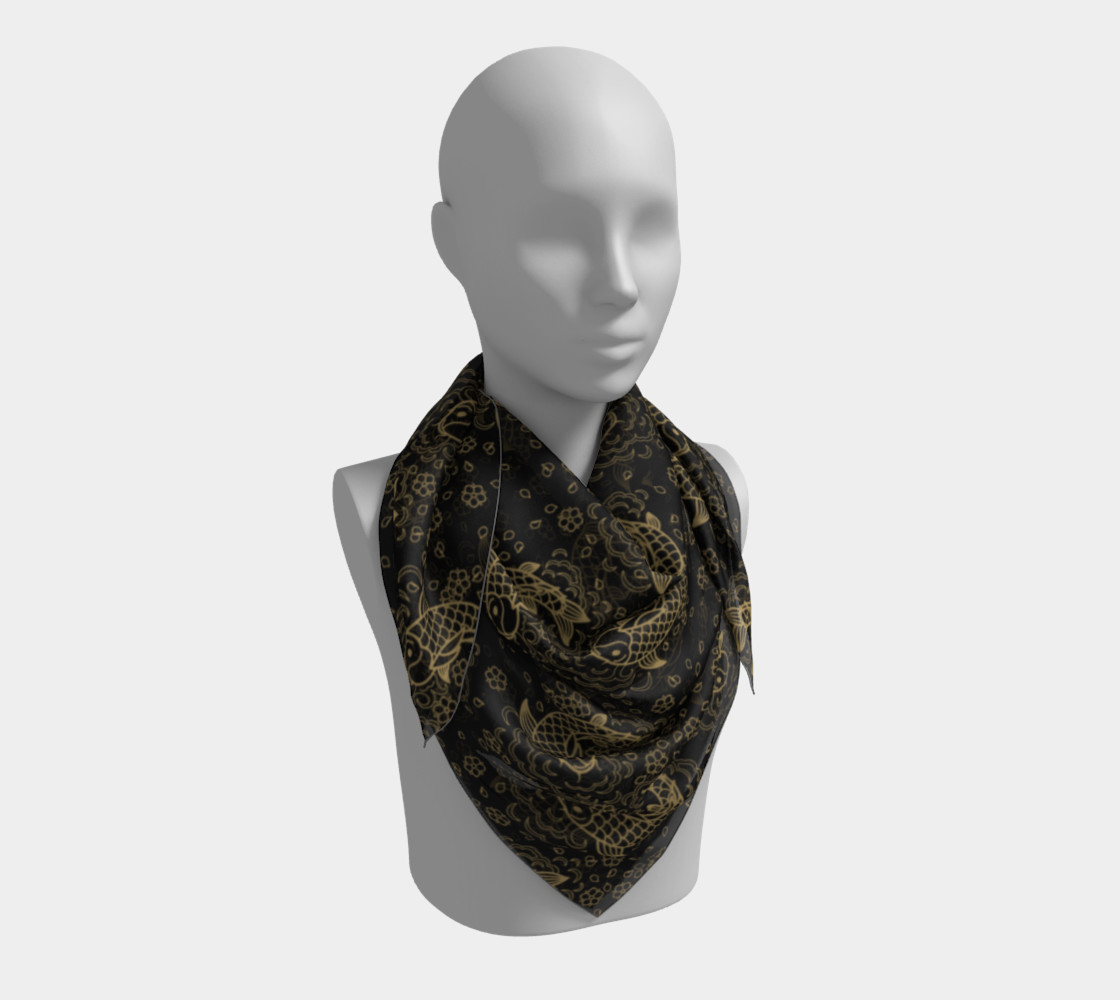 Gold Koi and Flowers on Black Background Square Scarf preview #3