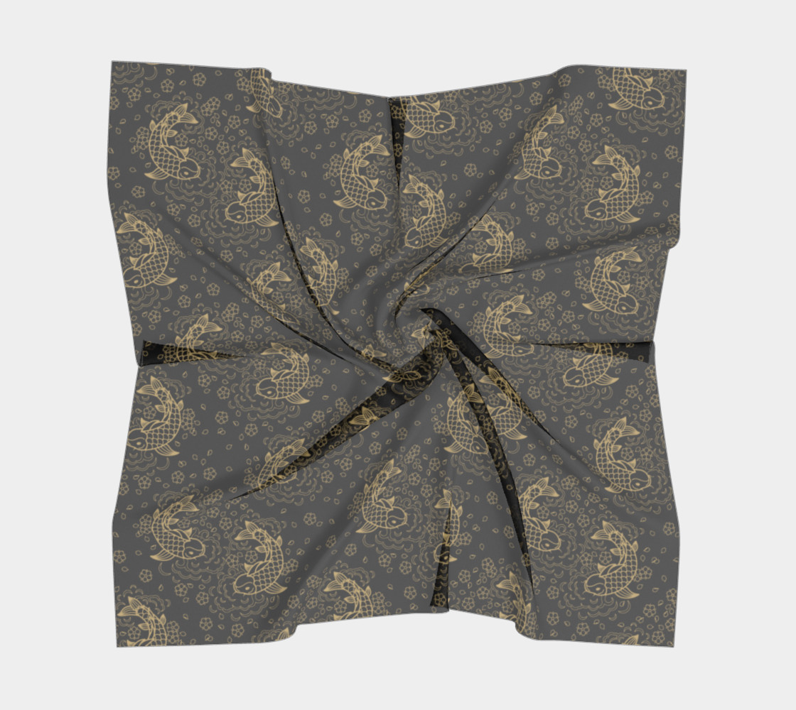Gold Koi and Flowers on Black Background Square Scarf preview #5