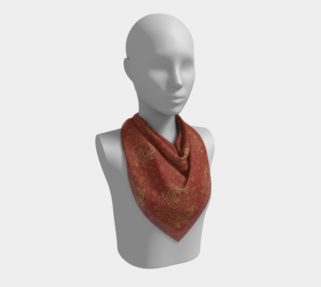 Gold Koi and Flowers on Red Background Square Scarf preview #2