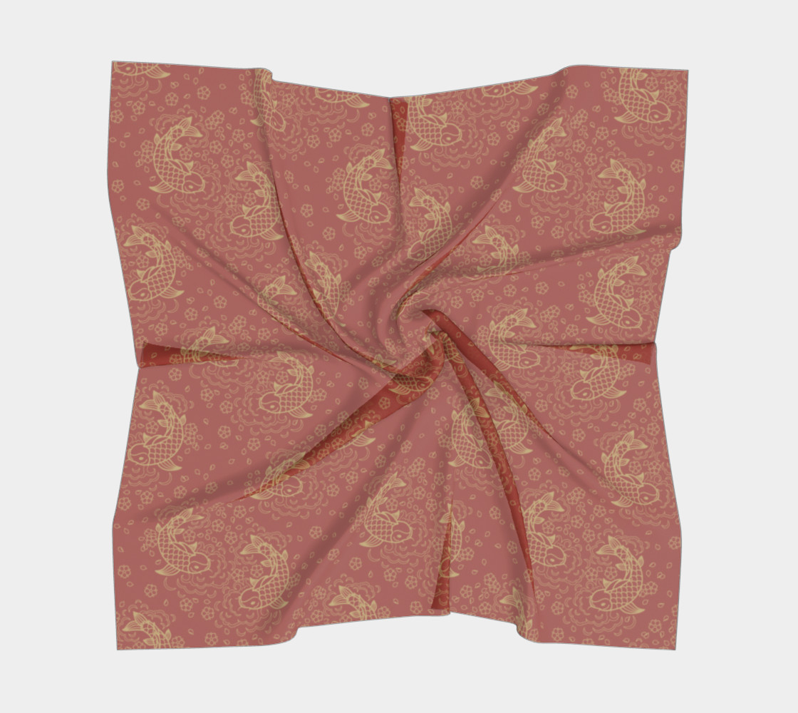Gold Koi and Flowers on Red Background Square Scarf preview #5