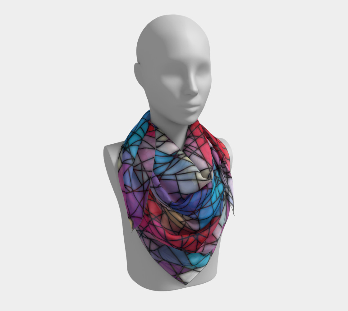 Angular Mosaic Pattern Square Scarf preview #3