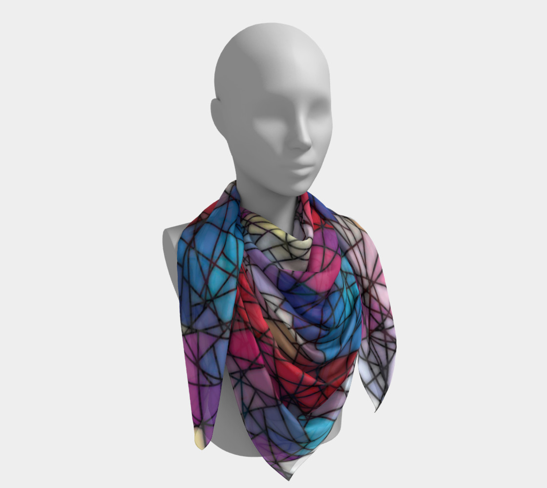 Angular Mosaic Pattern Square Scarf preview #4