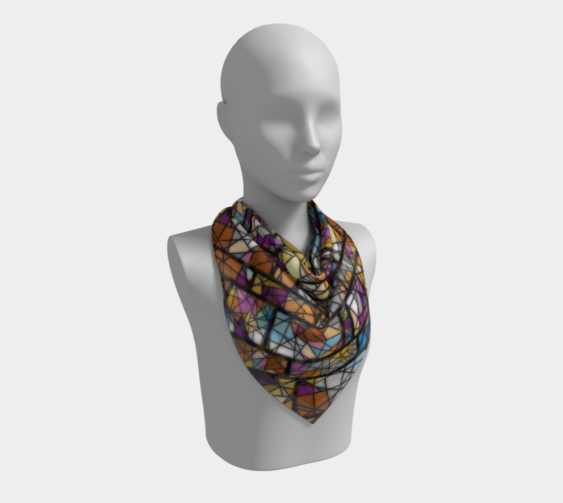 Quadrangles & Triangles Mosaic Pattern Square Scarf preview #2