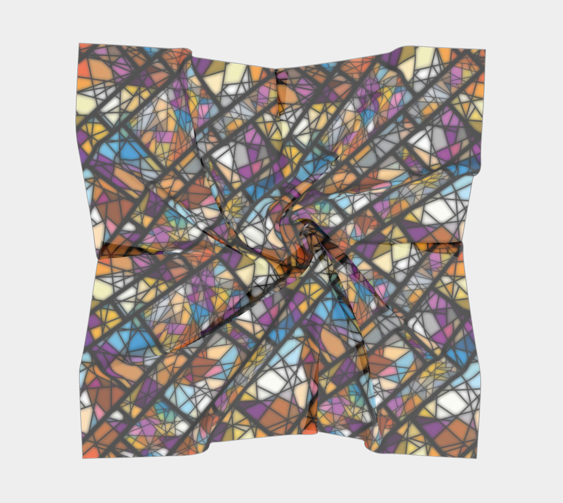 Quadrangles & Triangles Mosaic Pattern Square Scarf preview #5