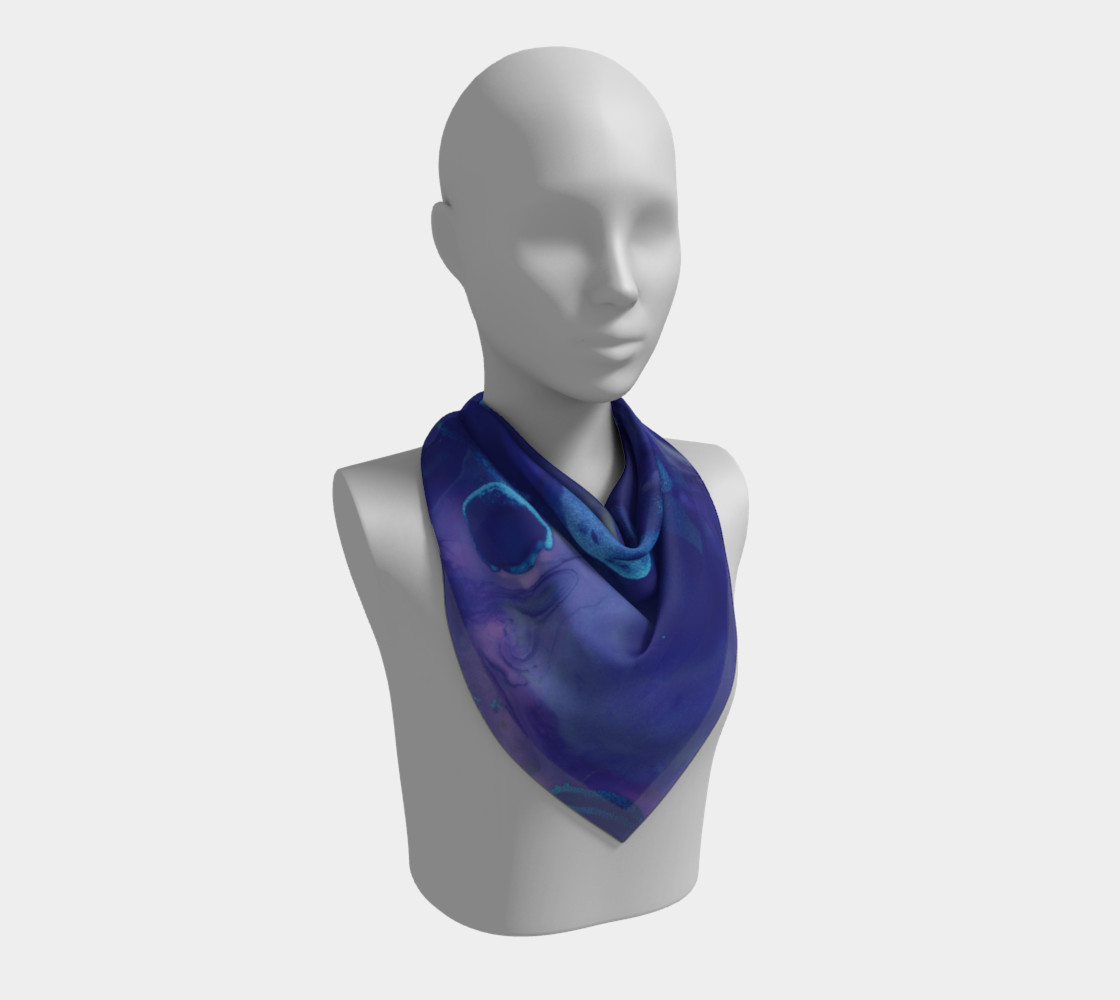 Watercolor Swirls A - Blues, Square Scarf preview #2