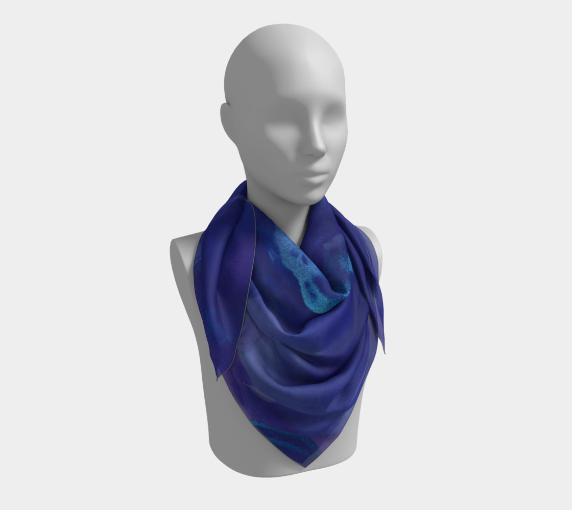 Watercolor Swirls A - Blues, Square Scarf preview #3