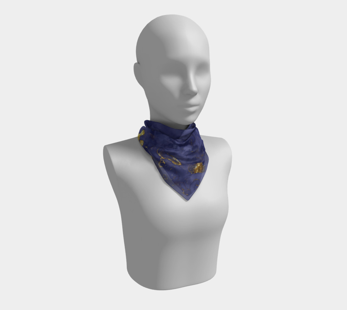 Watercolor Swirls C - Blue & Gold, Square Scarf preview #1