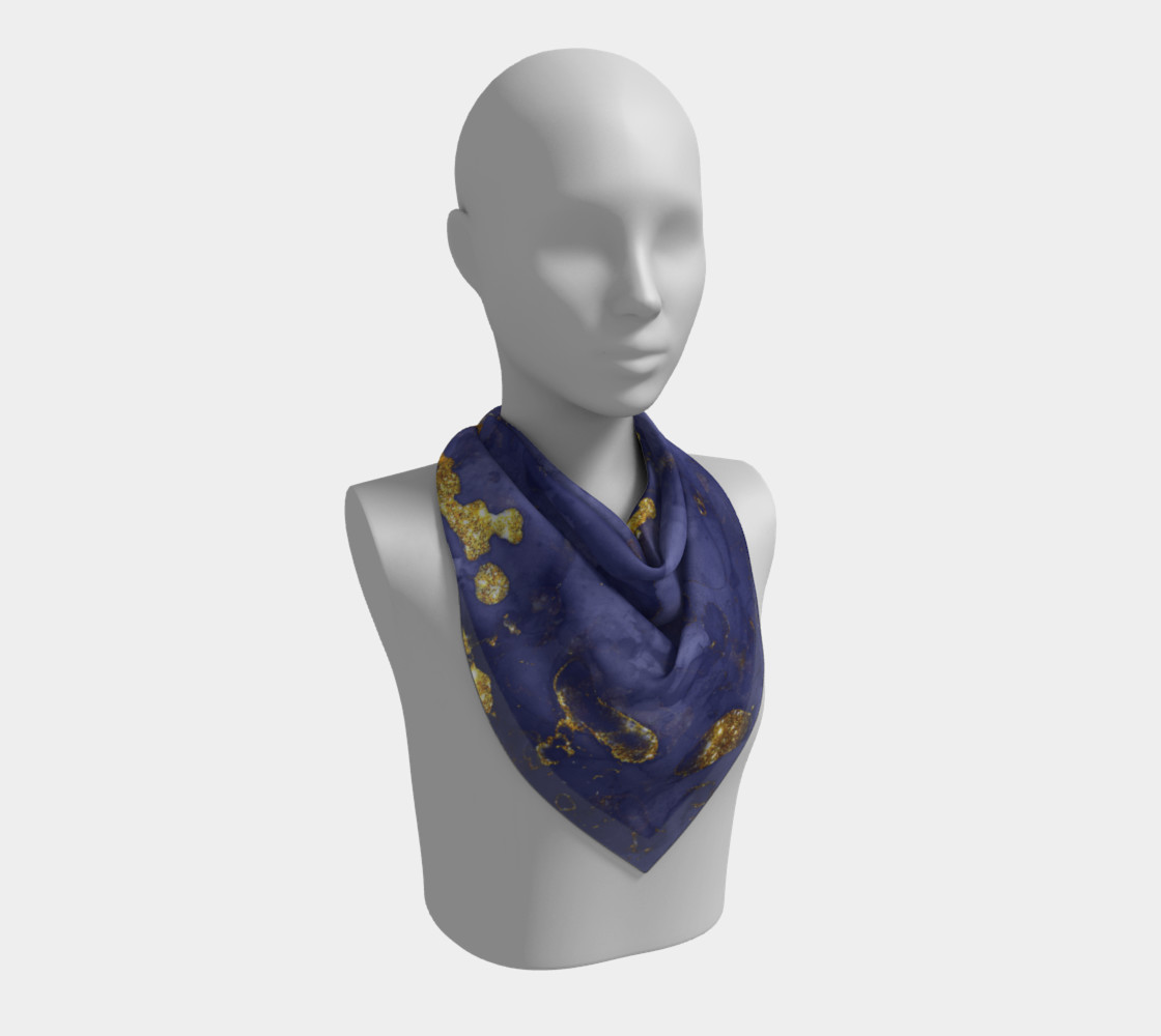Watercolor Swirls C - Blue & Gold, Square Scarf preview #2