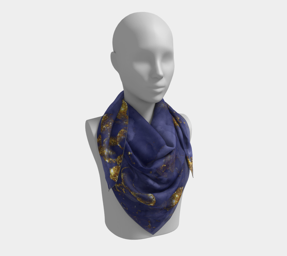 Watercolor Swirls C - Blue & Gold, Square Scarf preview #3