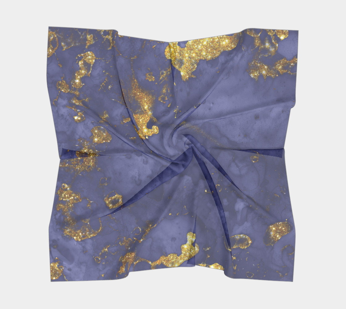 Watercolor Swirls C - Blue & Gold, Square Scarf preview #5