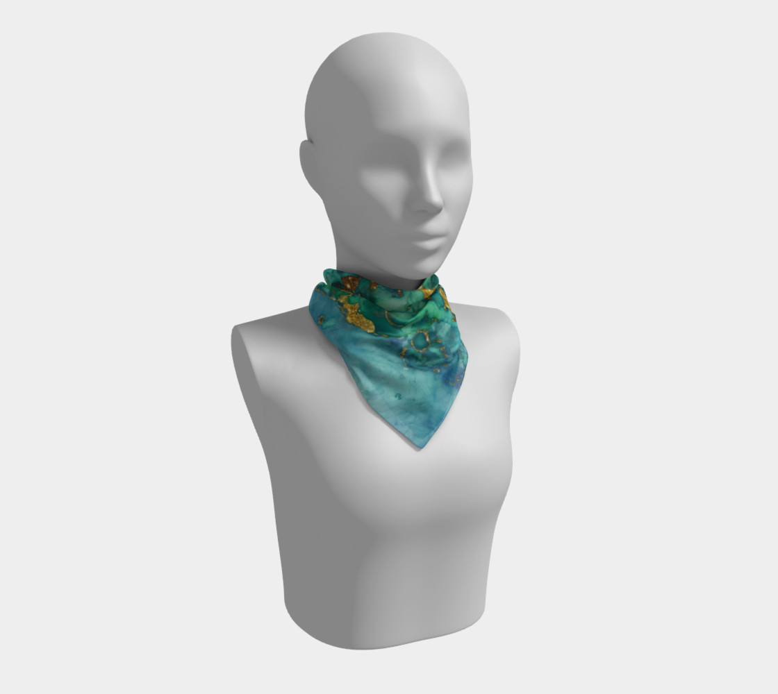 Watercolor Swirls D - Turquoise & Gold, Square Scarf preview #1