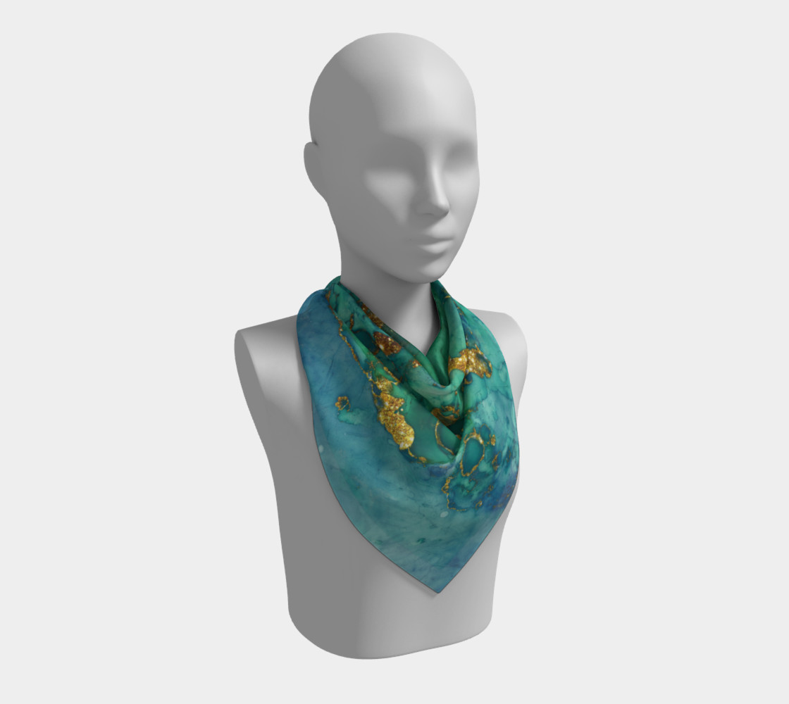 Watercolor Swirls D - Turquoise & Gold, Square Scarf preview #2