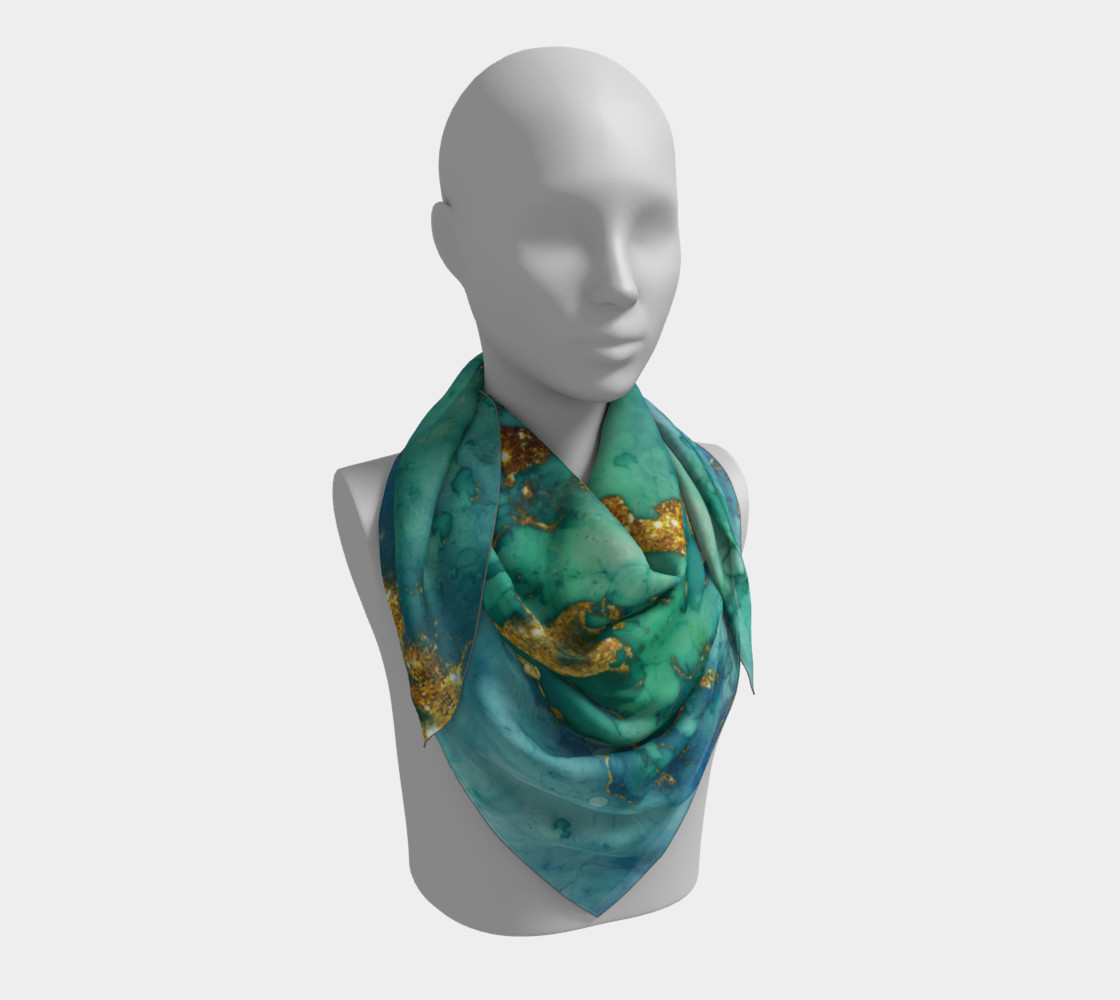 Watercolor Swirls D - Turquoise & Gold, Square Scarf preview #3