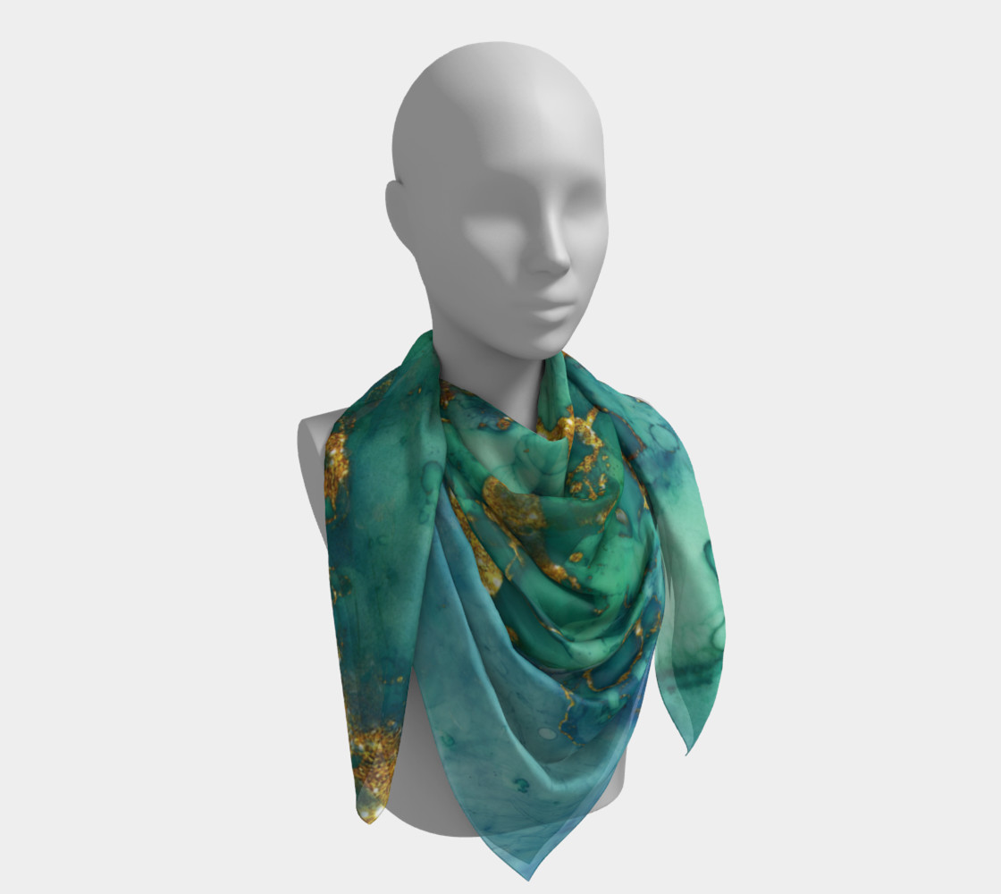 Watercolor Swirls D - Turquoise & Gold, Square Scarf preview #4