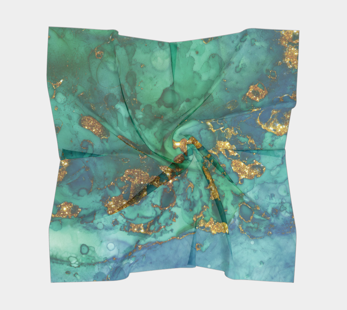 Watercolor Swirls D - Turquoise & Gold, Square Scarf preview #5