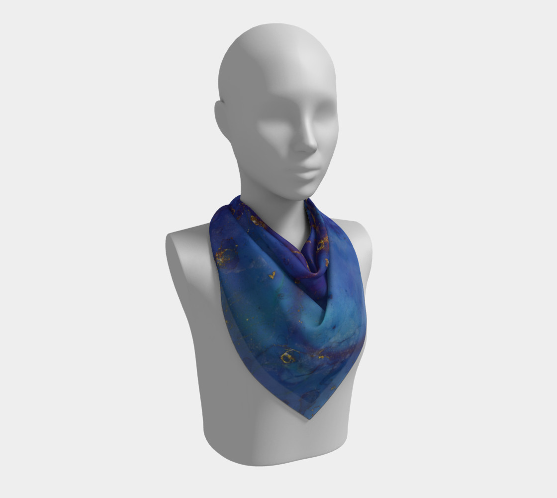 Watercolor Swirls E - Blue & Gold, Square Scarf thumbnail #3
